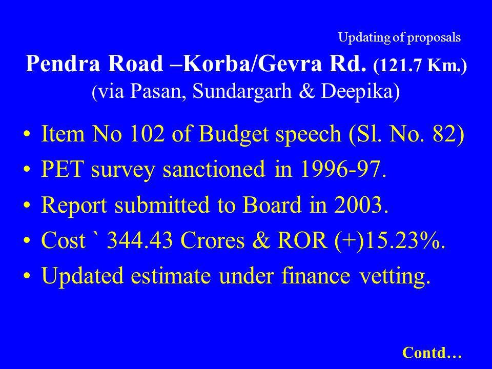 Updating of proposals Pendra Road –Korba/Gevra Rd. (121.7 Km.) ( via Pasan, Sundargarh & Deepika) Item No 102 of Budget speech (Sl. No. 82) PET survey