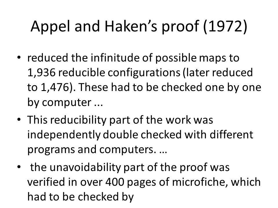 Appel and Haken's proof (1972) reduced the infinitude of possible maps to 1,936 reducible configurations (later reduced to 1,476).
