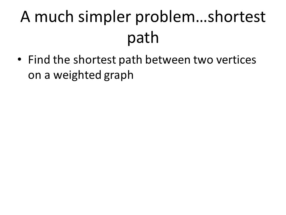 A much simpler problem…shortest path Find the shortest path between two vertices on a weighted graph