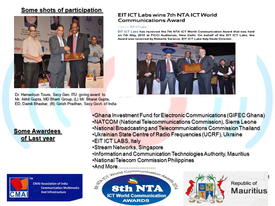 Dr.Hamadoun Toure, Secy Gen. ITU giving award to Mr.