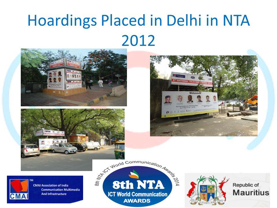 Hoardings Placed in Delhi in NTA 2012