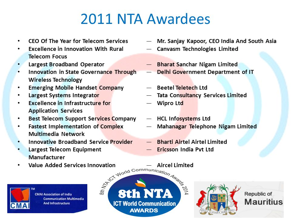 2011 NTA Awardees CEO Of The Year for Telecom Services Excellence in Innovation With Rural Telecom Focus Largest Broadband Operator Innovation in Stat