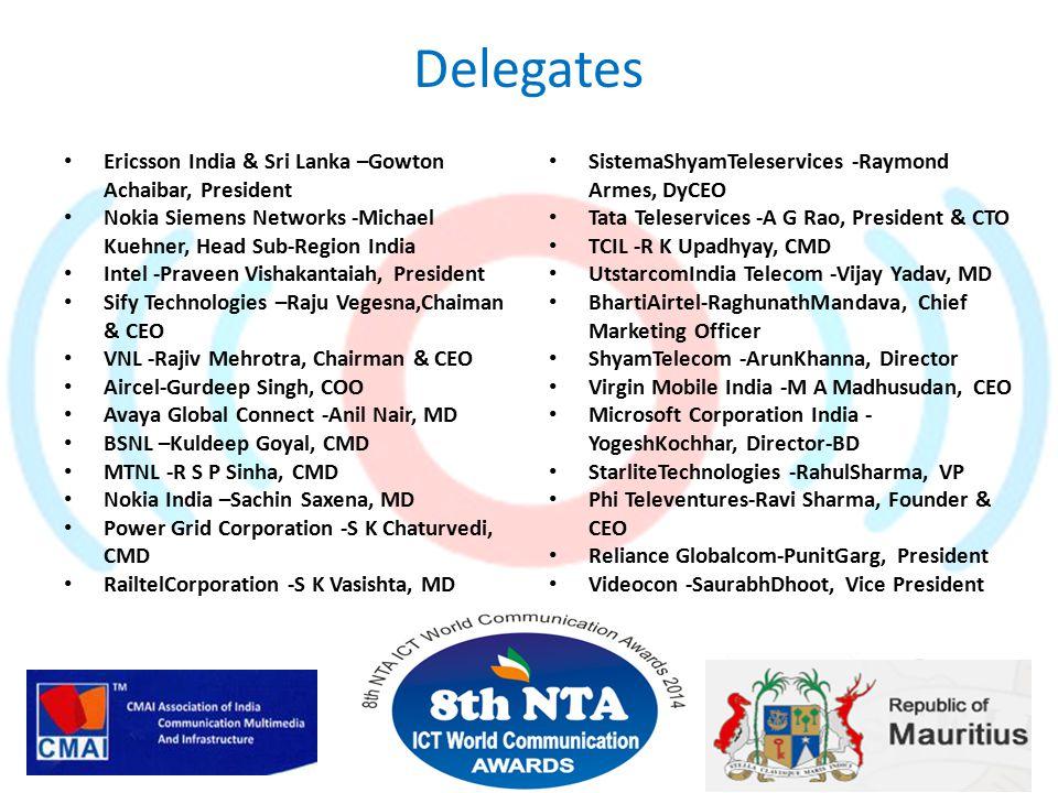 Delegates Ericsson India & Sri Lanka –Gowton Achaibar, President Nokia Siemens Networks -Michael Kuehner, Head Sub-Region India Intel -Praveen Vishakantaiah, President Sify Technologies –Raju Vegesna,Chaiman & CEO VNL -Rajiv Mehrotra, Chairman & CEO Aircel-Gurdeep Singh, COO Avaya Global Connect -Anil Nair, MD BSNL –Kuldeep Goyal, CMD MTNL -R S P Sinha, CMD Nokia India –Sachin Saxena, MD Power Grid Corporation -S K Chaturvedi, CMD RailtelCorporation -S K Vasishta, MD SistemaShyamTeleservices -Raymond Armes, DyCEO Tata Teleservices -A G Rao, President & CTO TCIL -R K Upadhyay, CMD UtstarcomIndia Telecom -Vijay Yadav, MD BhartiAirtel-RaghunathMandava, Chief Marketing Officer ShyamTelecom -ArunKhanna, Director Virgin Mobile India -M A Madhusudan, CEO Microsoft Corporation India - YogeshKochhar, Director-BD StarliteTechnologies -RahulSharma, VP Phi Televentures-Ravi Sharma, Founder & CEO Reliance Globalcom-PunitGarg, President Videocon -SaurabhDhoot, Vice President 24 … and many more
