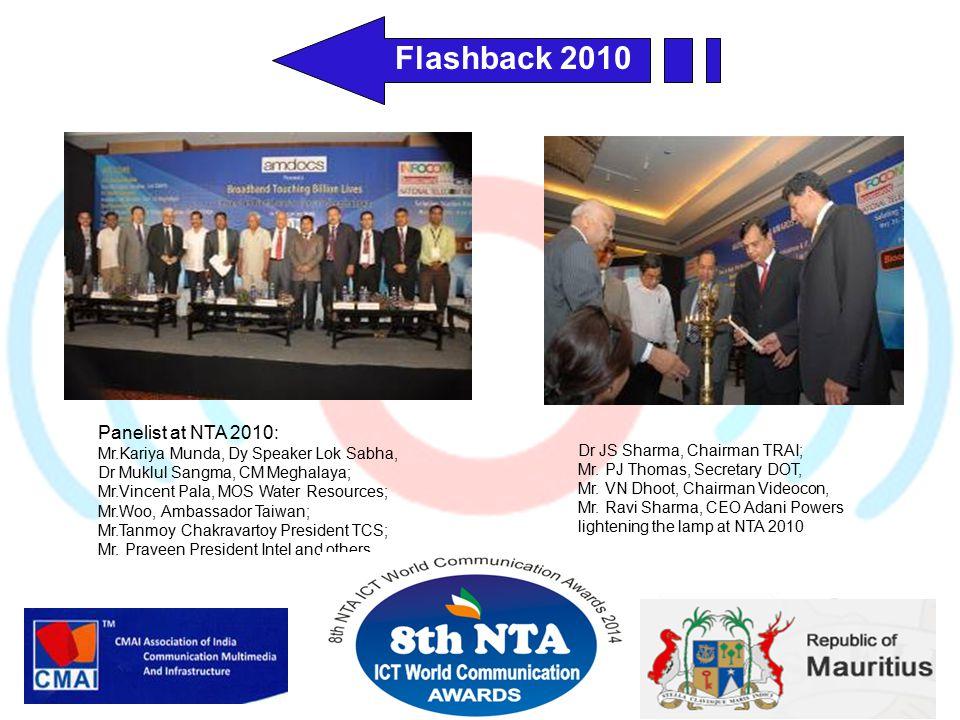 Panelist at NTA 2010: Mr.Kariya Munda, Dy Speaker Lok Sabha, Dr Muklul Sangma, CM Meghalaya; Mr.Vincent Pala, MOS Water Resources; Mr.Woo, Ambassador Taiwan; Mr.Tanmoy Chakravartoy President TCS; Mr.