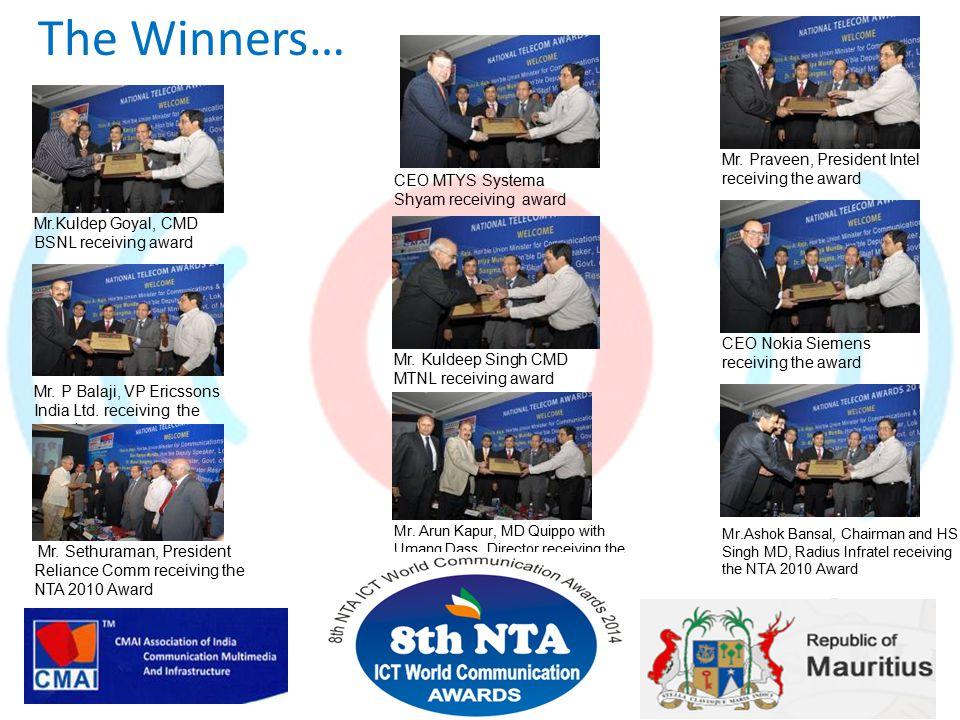 The Winners… Mr.Kuldep Goyal, CMD BSNL receiving award Mr.