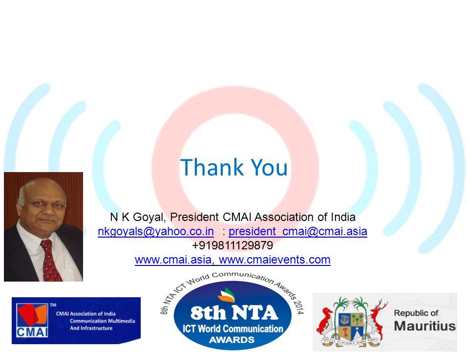Thank You N K Goyal, President CMAI Association of India nkgoyals@yahoo.co.innkgoyals@yahoo.co.in : president_cmai@cmai.asiapresident_cmai@cmai.asia +919811129879 www.cmai.asiawww.cmai.asia, www.cmaievents.comwww.cmaievents.com