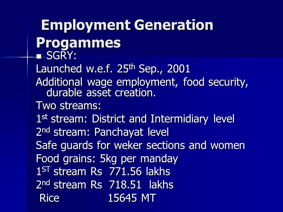Employment Generation Progammes Employment Generation Progammes SGRY: SGRY: Launched w.e.f.