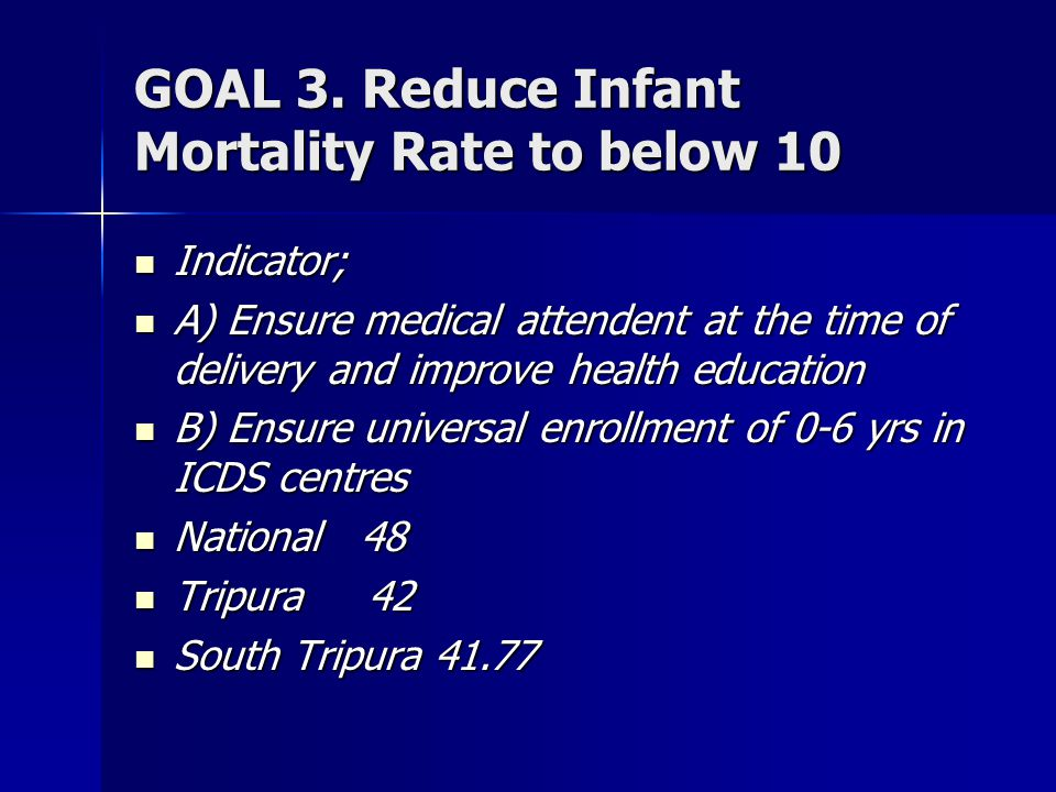 GOAL 3. Reduce Infant Mortality Rate to below 10 Indicator; Indicator; A) Ensure medical attendent at the time of delivery and improve health educatio