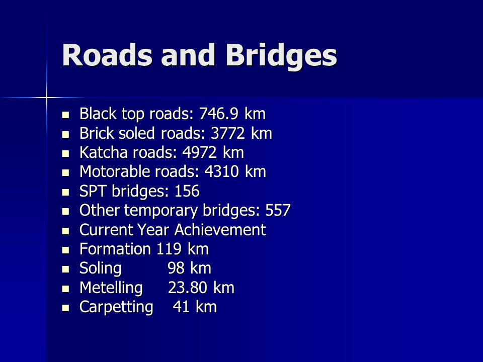 Roads and Bridges Black top roads: 746.9 km Black top roads: 746.9 km Brick soled roads: 3772 km Brick soled roads: 3772 km Katcha roads: 4972 km Katcha roads: 4972 km Motorable roads: 4310 km Motorable roads: 4310 km SPT bridges: 156 SPT bridges: 156 Other temporary bridges: 557 Other temporary bridges: 557 Current Year Achievement Current Year Achievement Formation 119 km Formation 119 km Soling 98 km Soling 98 km Metelling 23.80 km Metelling 23.80 km Carpetting 41 km Carpetting 41 km
