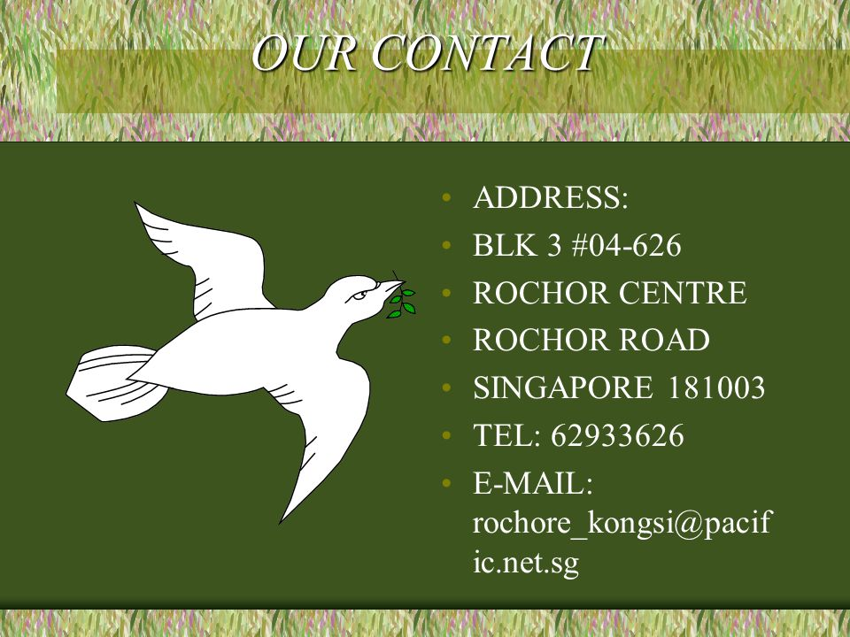 OUR CONTACT ADDRESS: BLK 3 #04-626 ROCHOR CENTRE ROCHOR ROAD SINGAPORE 181003 TEL: 62933626 E-MAIL: rochore_kongsi@pacif ic.net.sg