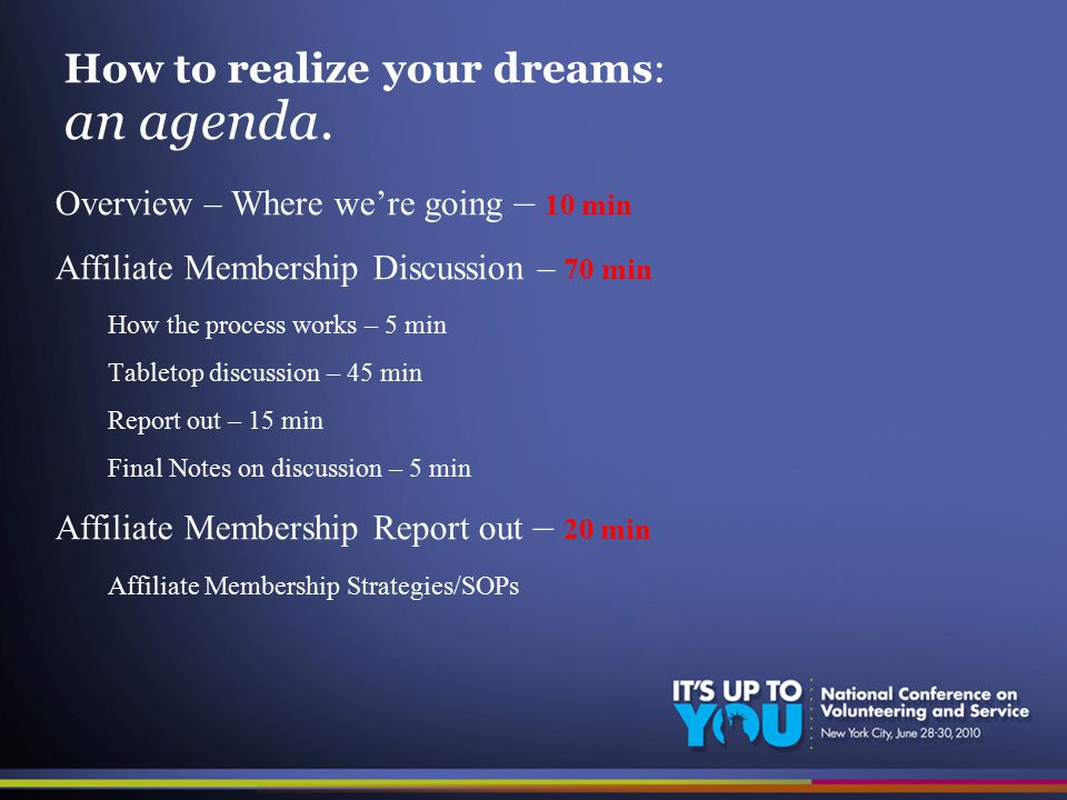 How to realize your dreams: an agenda.