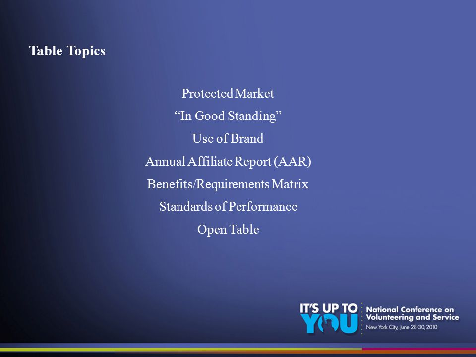 Table Topics Protected Market In Good Standing Use of Brand Annual Affiliate Report (AAR) Benefits/Requirements Matrix Standards of Performance Open Table