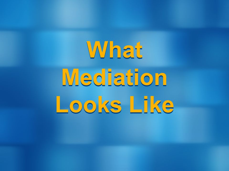 What Mediation Looks Like