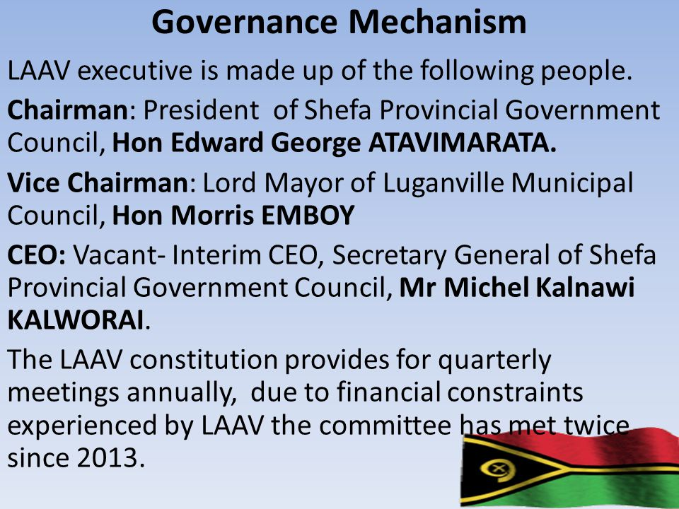 Governance Mechanism LAAV executive is made up of the following people.