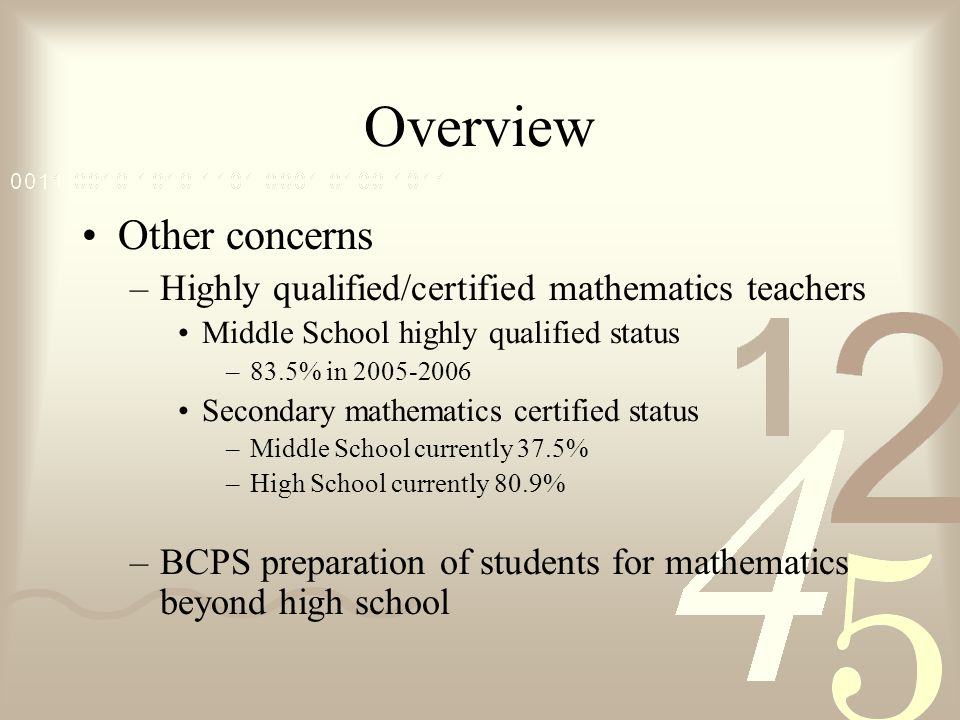 Overview Other concerns –Highly qualified/certified mathematics teachers Middle School highly qualified status –83.5% in 2005-2006 Secondary mathemati