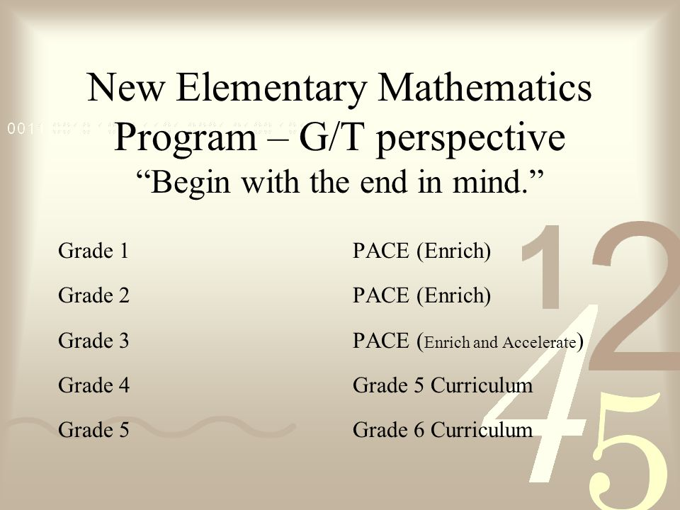 New Elementary Mathematics Program – G/T perspective Begin with the end in mind. Grade 1 Grade 2 Grade 3 Grade 4 Grade 5 PACE (Enrich) PACE ( Enrich and Accelerate ) Grade 5 Curriculum Grade 6 Curriculum