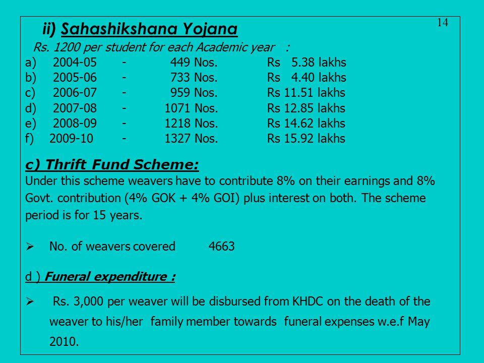 ii) Sahashikshana Yojana Rs. 1200 per student for each Academic year : a) 2004-05 -449 Nos.Rs 5.38 lakhs b) 2005-06 - 733 Nos.Rs 4.40 lakhs c) 2006-07