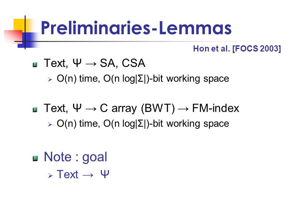 Preliminaries-Lemmas Text, Ψ → SA, CSA  O(n) time, O(n log|Σ|)-bit working space Text, Ψ → C array (BWT) → FM-index  O(n) time, O(n log|Σ|)-bit working space Note : goal  Text → Ψ Hon et al.
