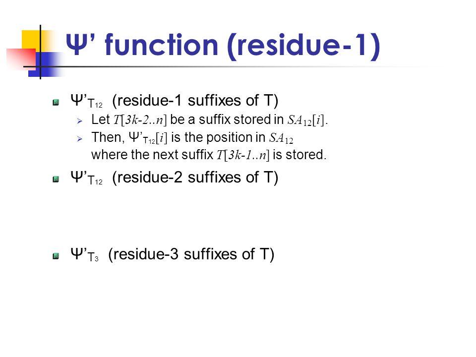 Ψ' function (residue-1) Ψ' T 12 (residue-1 suffixes of T)  Let T[3k-2..n] be a suffix stored in SA 12 [i].