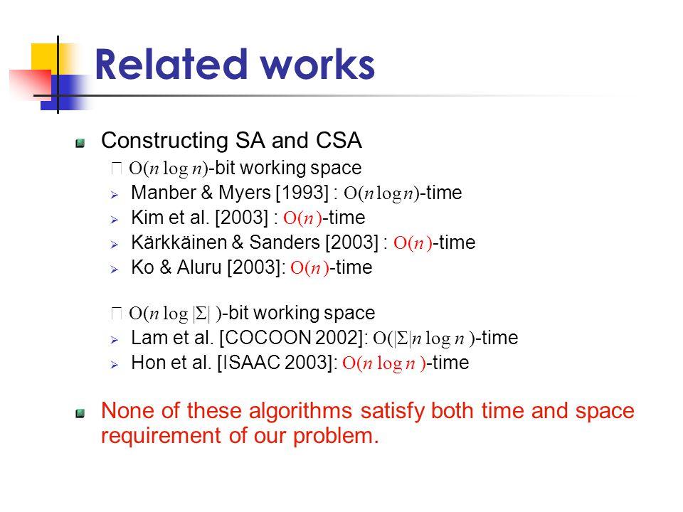 Related works Constructing SA and CSA ※ O(n log n) -bit working space  Manber & Myers [1993] : O(n log n) -time  Kim et al.