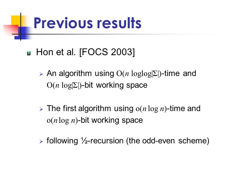 Previous results Hon et al.