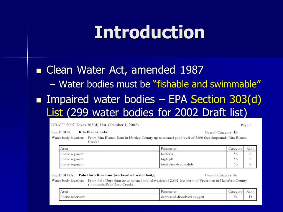 Introduction Clean Water Act, amended 1987 Clean Water Act, amended 1987 –Water bodies must be fishable and swimmable Impaired water bodies – EPA Section 303(d) List (299 water bodies for 2002 Draft list) Impaired water bodies – EPA Section 303(d) List (299 water bodies for 2002 Draft list)