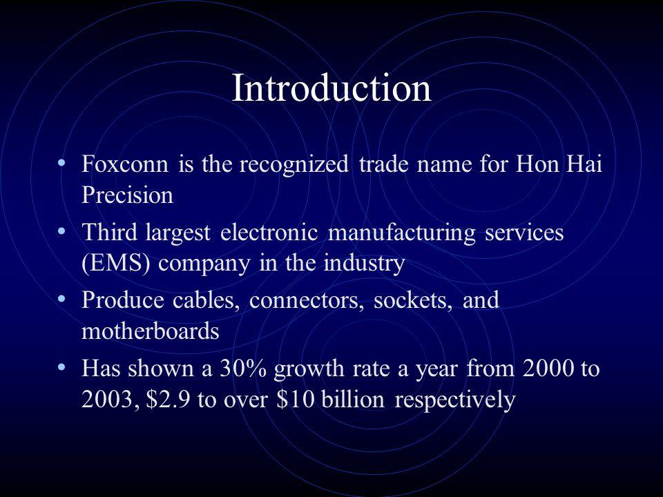 Supply Chain Management at Foxconn MIS 6352-05020 Sivapriya Aswathanarayanan Brigett Bentley James Fancher Jason Hammons Paul Lanham Nina Thowsen July 20, 2004