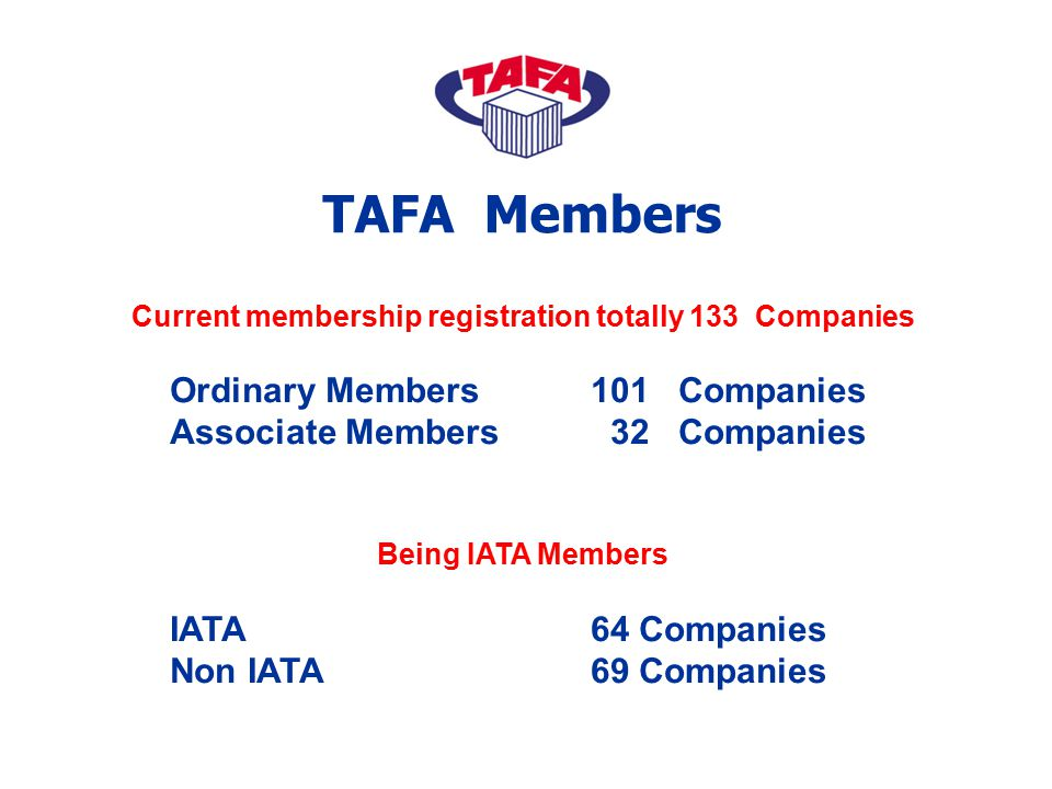 Current membership registration totally 133 Companies Ordinary Members101 Companies Associate Members 32 Companies Being IATA Members IATA 64 Companie