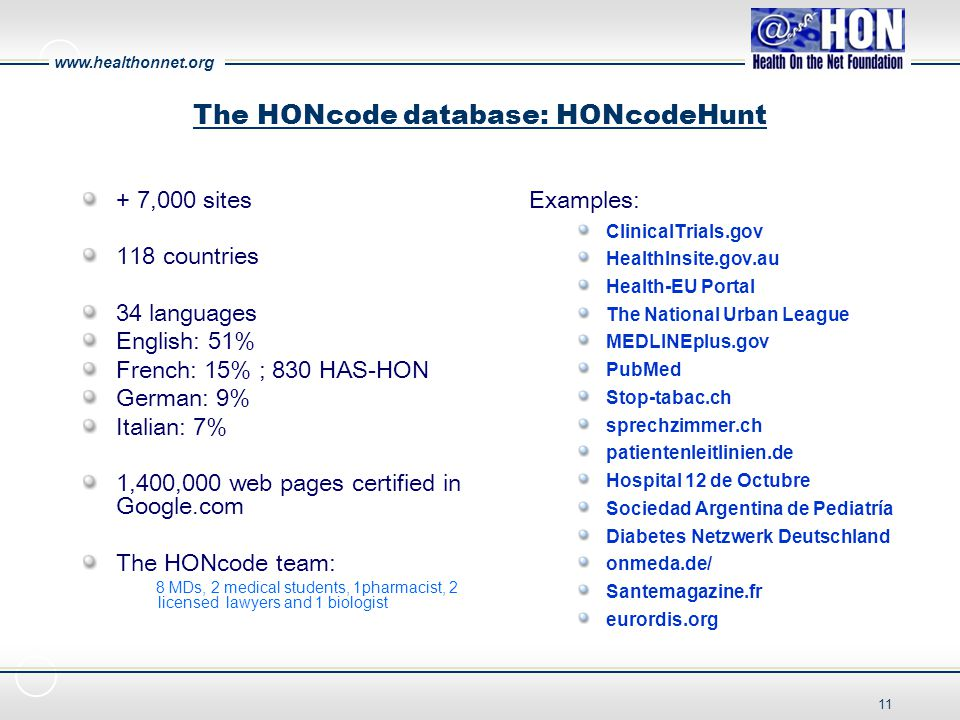 www.healthonnet.org 11 The HONcode database: HONcodeHunt + 7,000 sites 118 countries 34 languages English: 51% French: 15% ; 830 HAS-HON German: 9% Italian: 7% 1,400,000 web pages certified in Google.com The HONcode team: 8 MDs, 2 medical students, 1pharmacist, 2 licensed lawyers and 1 biologist Examples: ClinicalTrials.gov HealthInsite.gov.au Health-EU Portal The National Urban League MEDLINEplus.gov PubMed Stop-tabac.ch sprechzimmer.ch patientenleitlinien.de Hospital 12 de Octubre Sociedad Argentina de Pediatría Diabetes Netzwerk Deutschland onmeda.de/ Santemagazine.fr eurordis.org