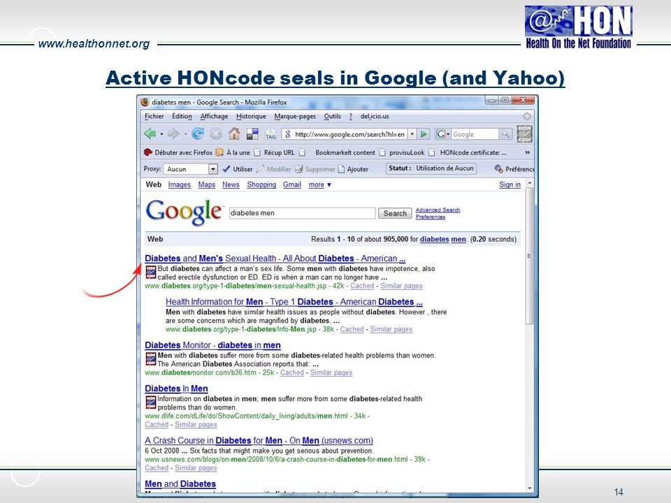 www.healthonnet.org 14 Active HONcode seals in Google (and Yahoo)