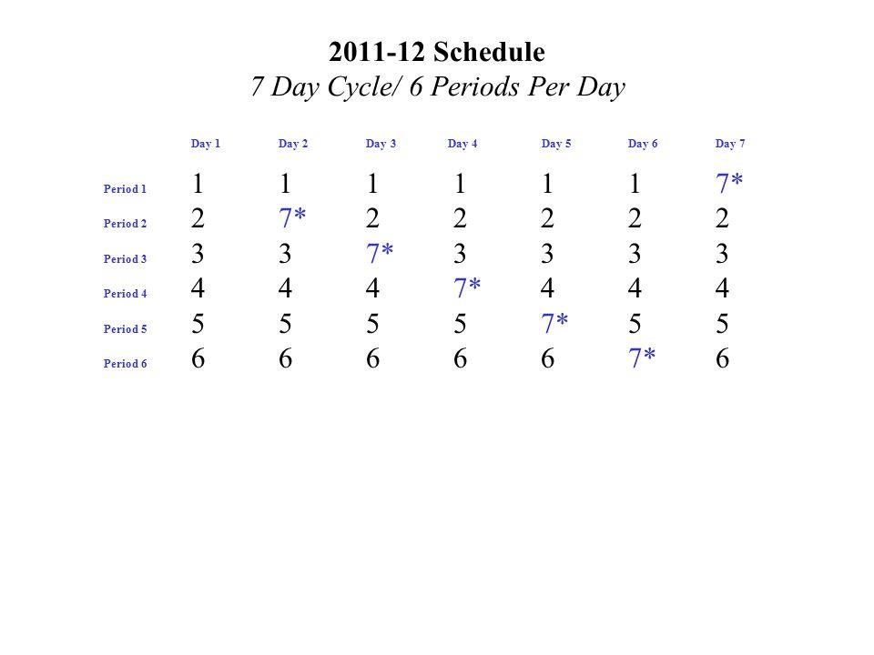 7 day schedule