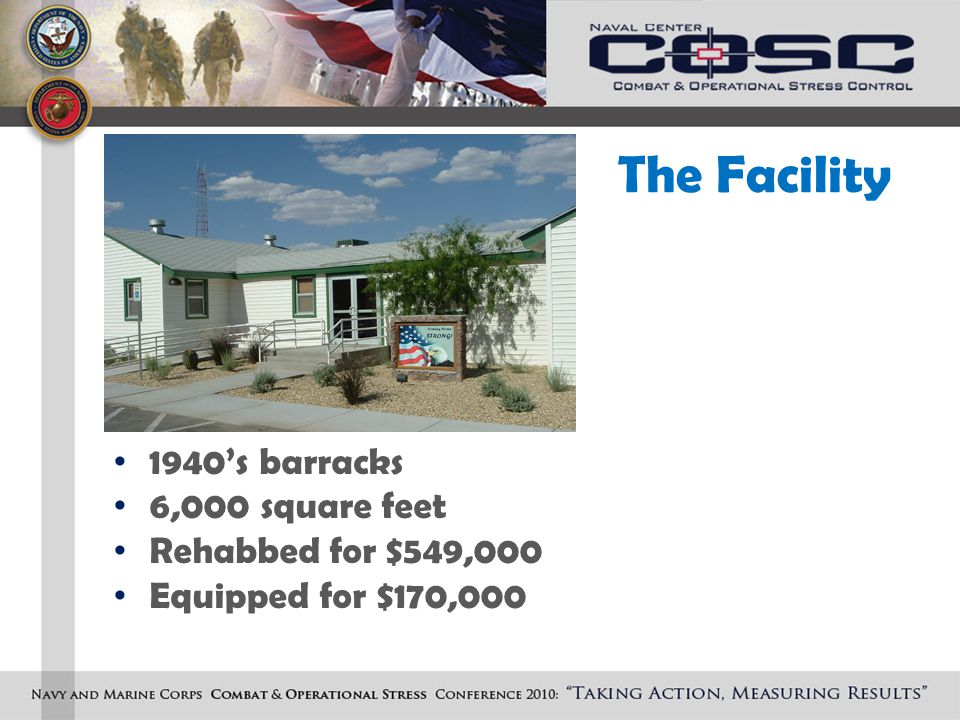 The Facility 1940's barracks 6,000 square feet Rehabbed for $549,000 Equipped for $170,000