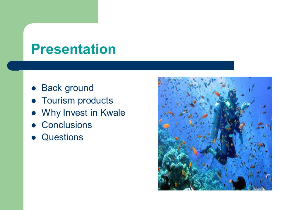 Presentation Back ground Tourism products Why Invest in Kwale Conclusions Questions