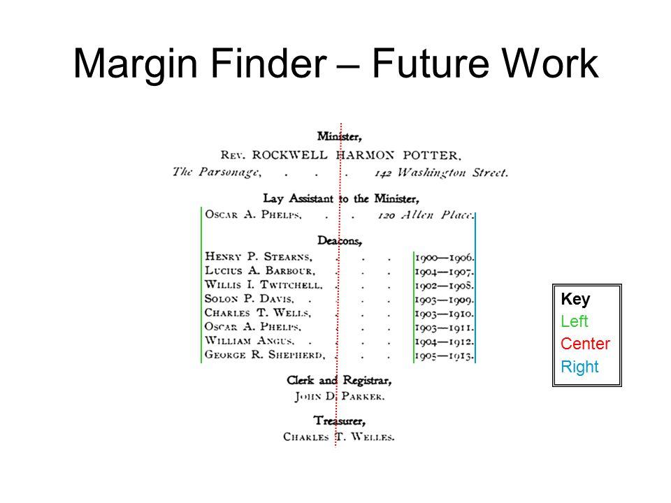 Margin Finder – Future Work Left Center Right Key