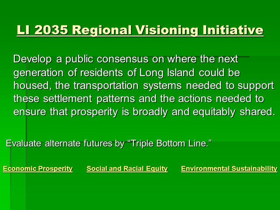 LI 2035 Regional Comprehensive Sustainability Plan  Develop an action plan to secure the sustainable development of Long Island's economy and social and natural environment over the next 25 to 30 years.