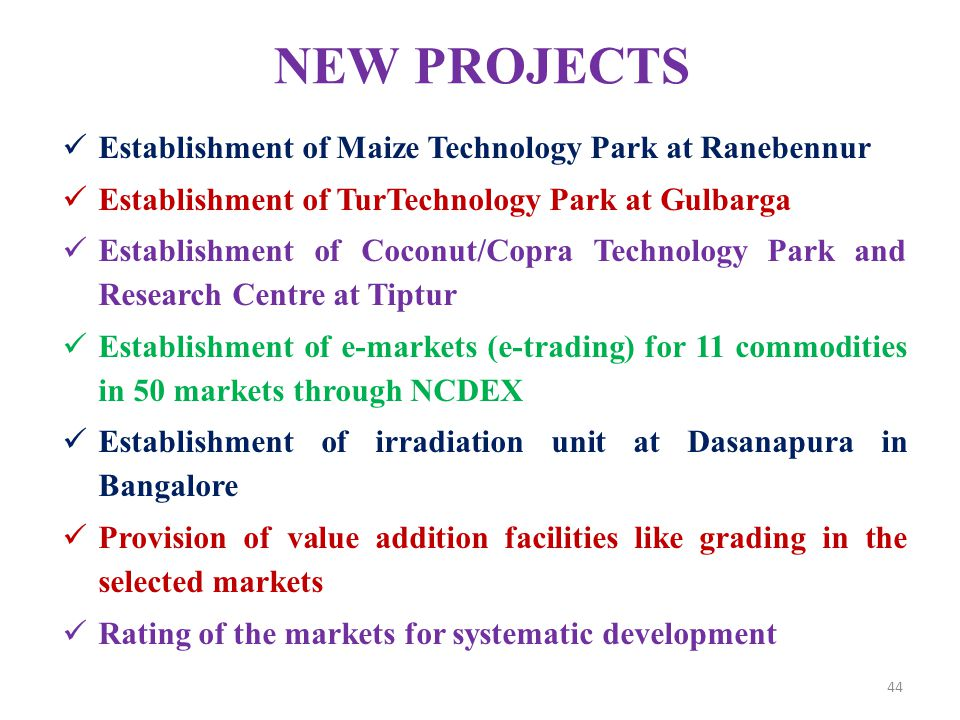 NEW PROJECTS Establishment of Maize Technology Park at Ranebennur Establishment of TurTechnology Park at Gulbarga Establishment of Coconut/Copra Techn