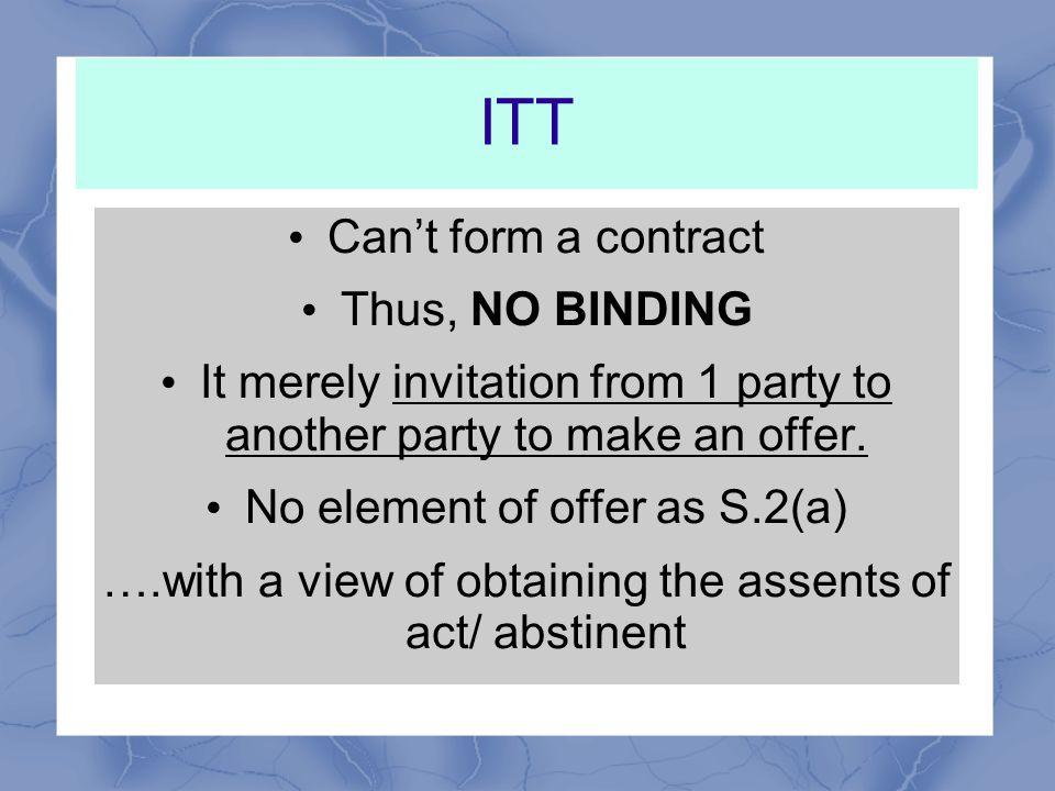 DISTINCTION BETWEEN OFFER & INVITATION TO TREAT (ITT)