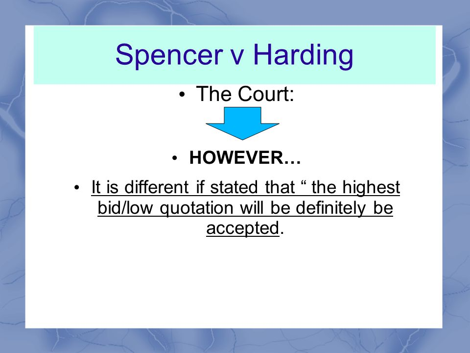 Spencer v Harding The Court: A circular offering stock for sale by tender was simply a proclamation that the D were already to negotiate for sale of goods and it merely ITT.