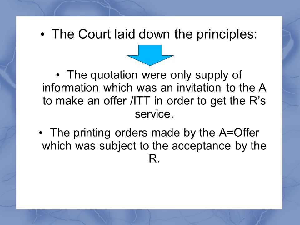 Preston Corporation Sdn Bhd v Edward Leong & Others [1982] 2 MLJ 22 The Publisher asked for quotation from the Printers The (R ) gave quotation to the A.