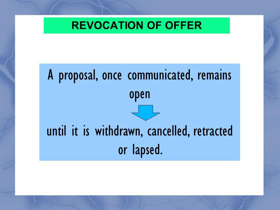 REVOCATION OF OFFER