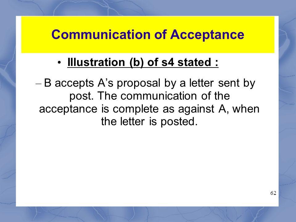 Communication of Acceptance s.