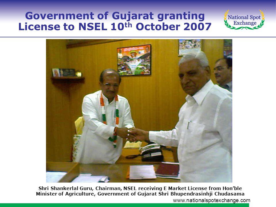 www.nationalspotexchange.com Memorandum of Understanding signedwith Government of Rajasthan on November 30, 2007 Mr.