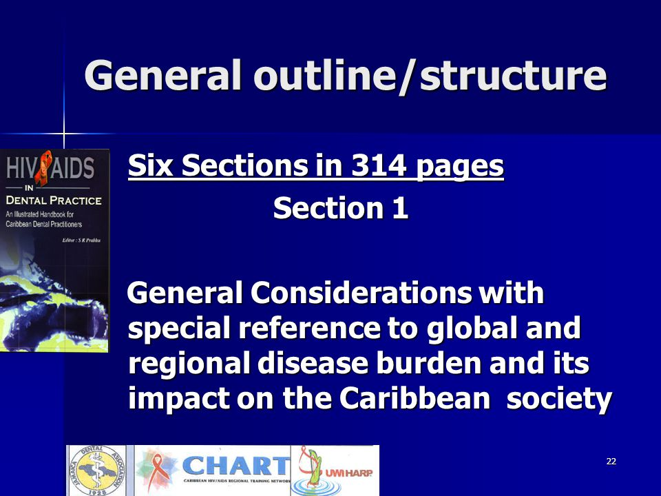 22 General outline/structure Six Sections in 314 pages Six Sections in 314 pages Section 1 Section 1 General Considerations with special reference to global and regional disease burden and its impact on the Caribbean society General Considerations with special reference to global and regional disease burden and its impact on the Caribbean society
