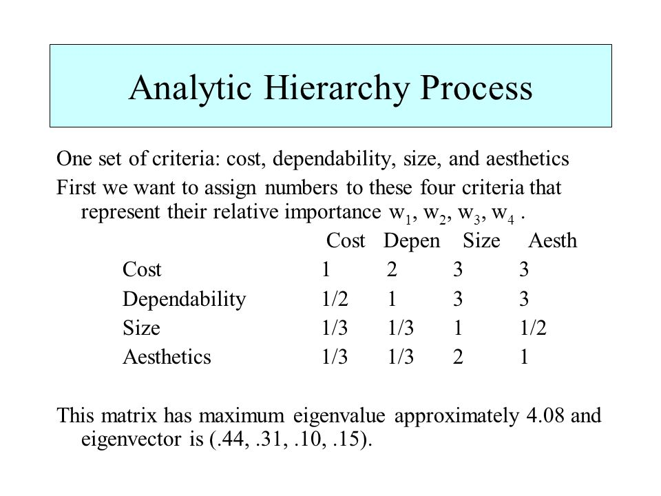 Analytic Hierarchy Process One set of criteria: cost, dependability, size, and aesthetics First we want to assign numbers to these four criteria that represent their relative importance w 1, w 2, w 3, w 4.