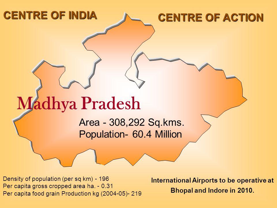 Madhya Pradesh Area - 308,292 Sq.kms.