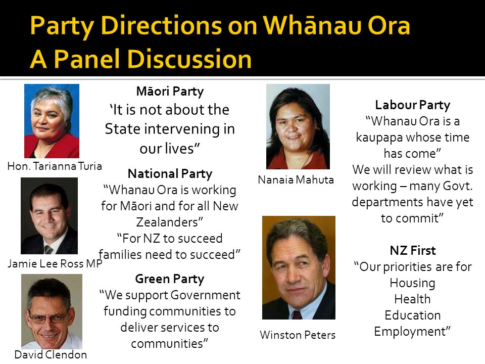 "Hon. Tarianna Turia Jamie Lee Ross MP David Clendon Winston Peters Nanaia Mahuta Māori Party 'It is not about the State intervening in our lives"" Nati"