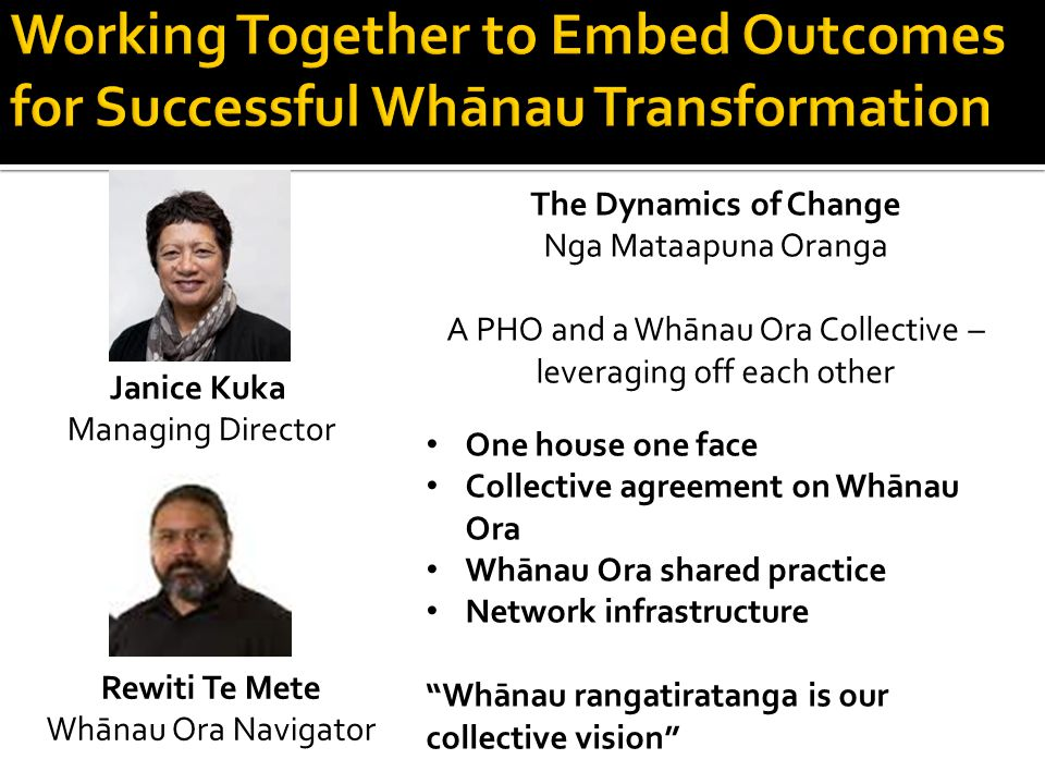 The Dynamics of Change Nga Mataapuna Oranga A PHO and a Whānau Ora Collective – leveraging off each other One house one face Collective agreement on Whānau Ora Whānau Ora shared practice Network infrastructure Whānau rangatiratanga is our collective vision Janice Kuka Managing Director Rewiti Te Mete Whānau Ora Navigator