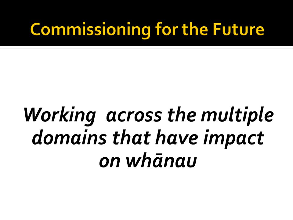 Working across the multiple domains that have impact on whānau