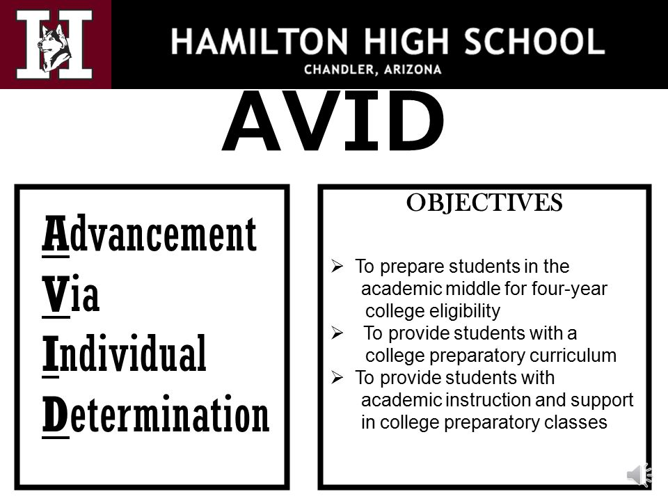 AVID Advancement Via Individual Determination OBJECTIVES  To prepare students in the academic middle for four-year college eligibility  To provide students with a college preparatory curriculum  To provide students with academic instruction and support in college preparatory classes