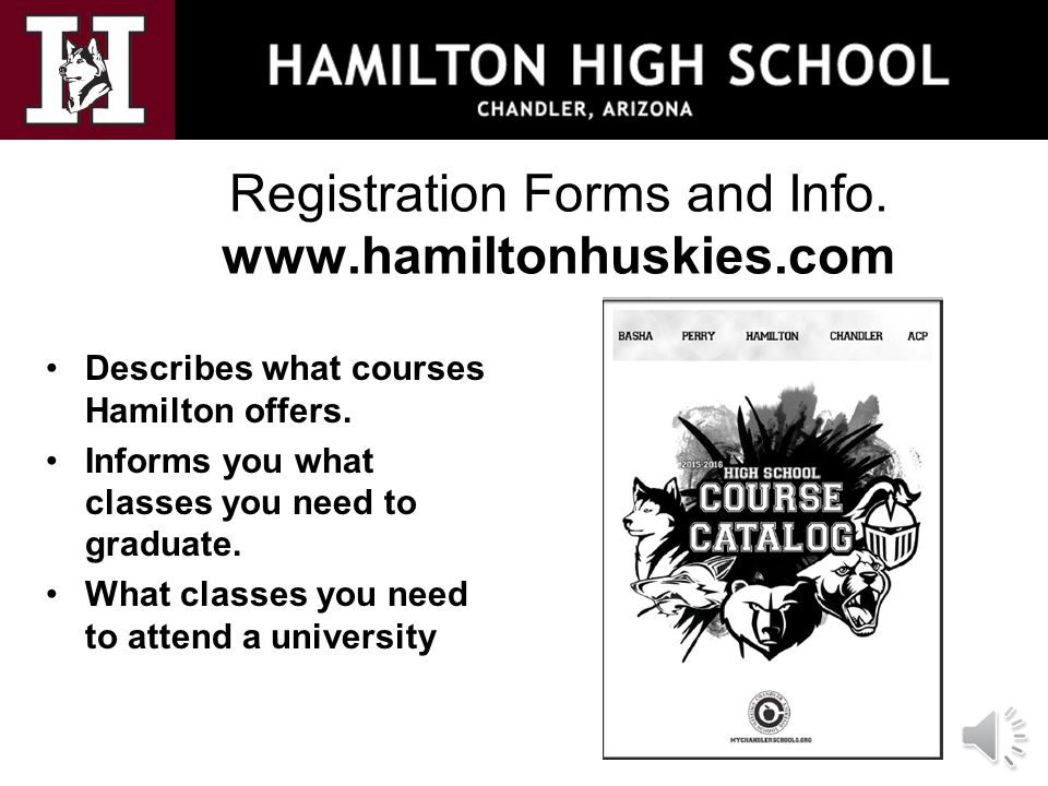 Registration Forms and Info. www.hamiltonhuskies.com Describes what courses Hamilton offers. Informs you what classes you need to graduate. What class